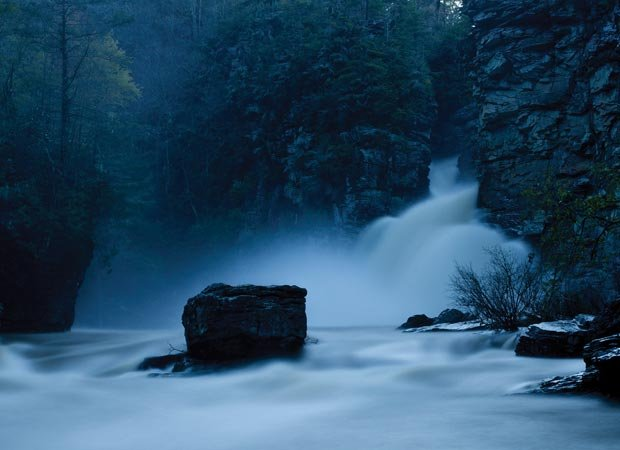 """""""Linville River Flooding from Plunge Basin – MP 316""""″ by Lynn Willis."""