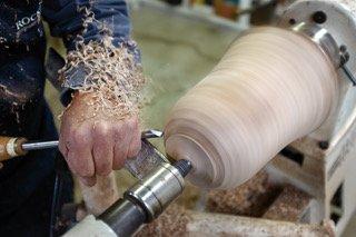 Joe Waldroup in his woodworking workshop