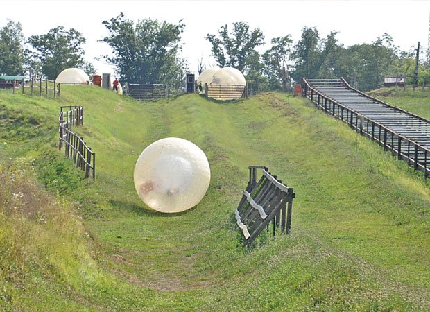 Zorbing in the mountains